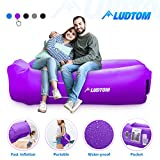 LUDTOM Inflatable Lounger Air Sofa Hammock, 440 lb Portable and Waterproof Ideal Inflatable Pouch Couch for Camping Gear and Accessories for Outdoors Pool Backyard Traveling Purple