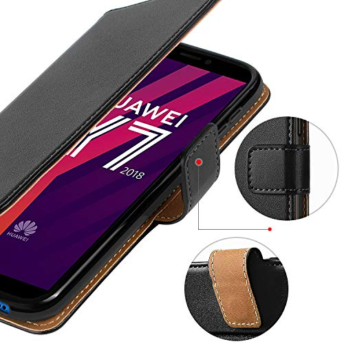 HOOMIL Handyhülle für Huawei Y7 2018 Hülle, Premium Leder Flip Schutzhülle für Huawei Y7 2018/Y7 Prime 2018/Honor 7C Tasche, Schwarz - 5