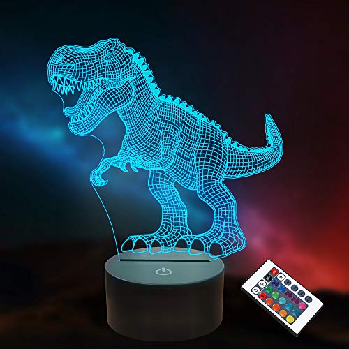 Dinosaur Gifts, 3D T-Rex Night Light with Remote & Smart Touch + Timer + 16 Colors Changing Dimmable Dino 3D Lamp Gifts for Boys Kids Age 2 3 4 5 6+ Year Old Boy