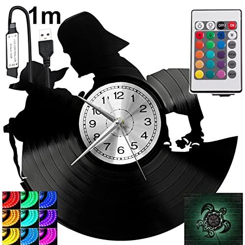 Yoda Darth Vader RGB LED Pilot Reloj de pared para mando a distancia, disco de vinilo moderno decorativo para regalo de cumpleaños