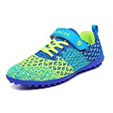 Lynxmko Unisex Kids Youth Athletic Lightweight Outdoor/Indoor Turf Comfortable Casual Cleats Soccer Shoes Girl/boy Green/Blue