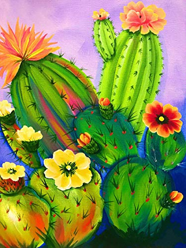 Reofrey 5D Diamond Painting Pintura al óleo Cactus Flower, Pintura Diamante Bricolaje Completo Taladro Arte, Punto de Cruz Diamantes Bordado Pegatinas de Pared Decoración de La sala (30x40cm)