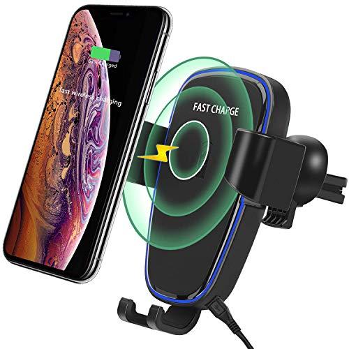 10W Cargador inalámbrico para auto, EFFE soporte para teléfono con ventilación de aire de gravedad ajustable, compatible con iPhone Xs /Xs Max/ XR/ X / 8/8 Plus, Samsung Galaxy Note 10/S9/S9+/S8/S7 y más