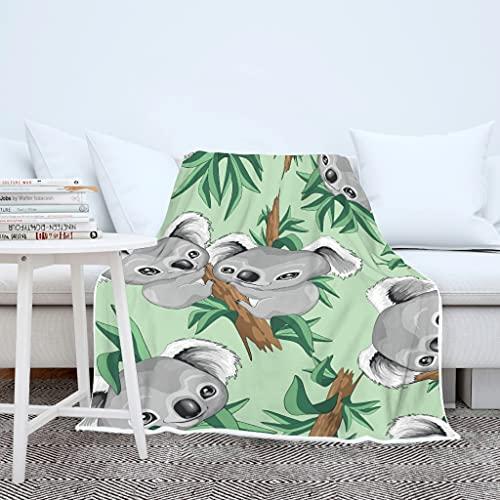 AXGM Manta para niños y niñas, con estampado de koala, muy cálida, 150 x 200 cm, color blanco
