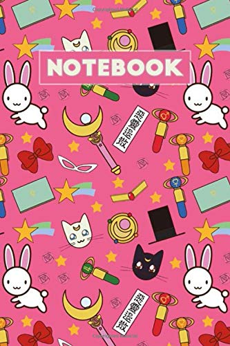 Notebook: Cats Luna and Artemis Sailor Moon Soft Glossy Cover College Ruled Notebook Lined School Journal 6 x 9 Inches 110 Pages