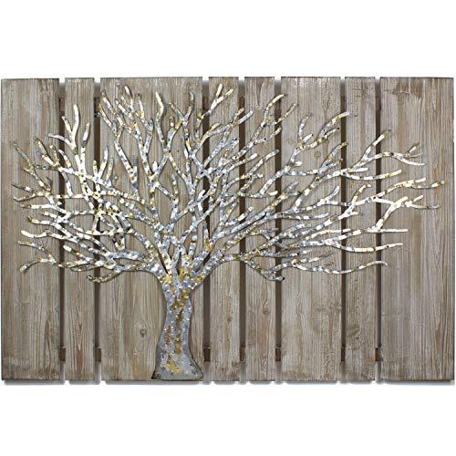 mosa designs House of Arts - 3D Metallbild auf Holzuntergund Wandbild Écorce Wanddeko 120x80cm Relief Handarbeit (Silber Gold)