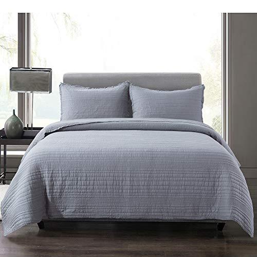 Soul und Lane Modern Rows 2-teiliges Bettwäscheset aus Baumwolle – für Doppelbett mit 1 Kissenbezug | anthrazitgrau gestreift gesteppte Tagesdecke