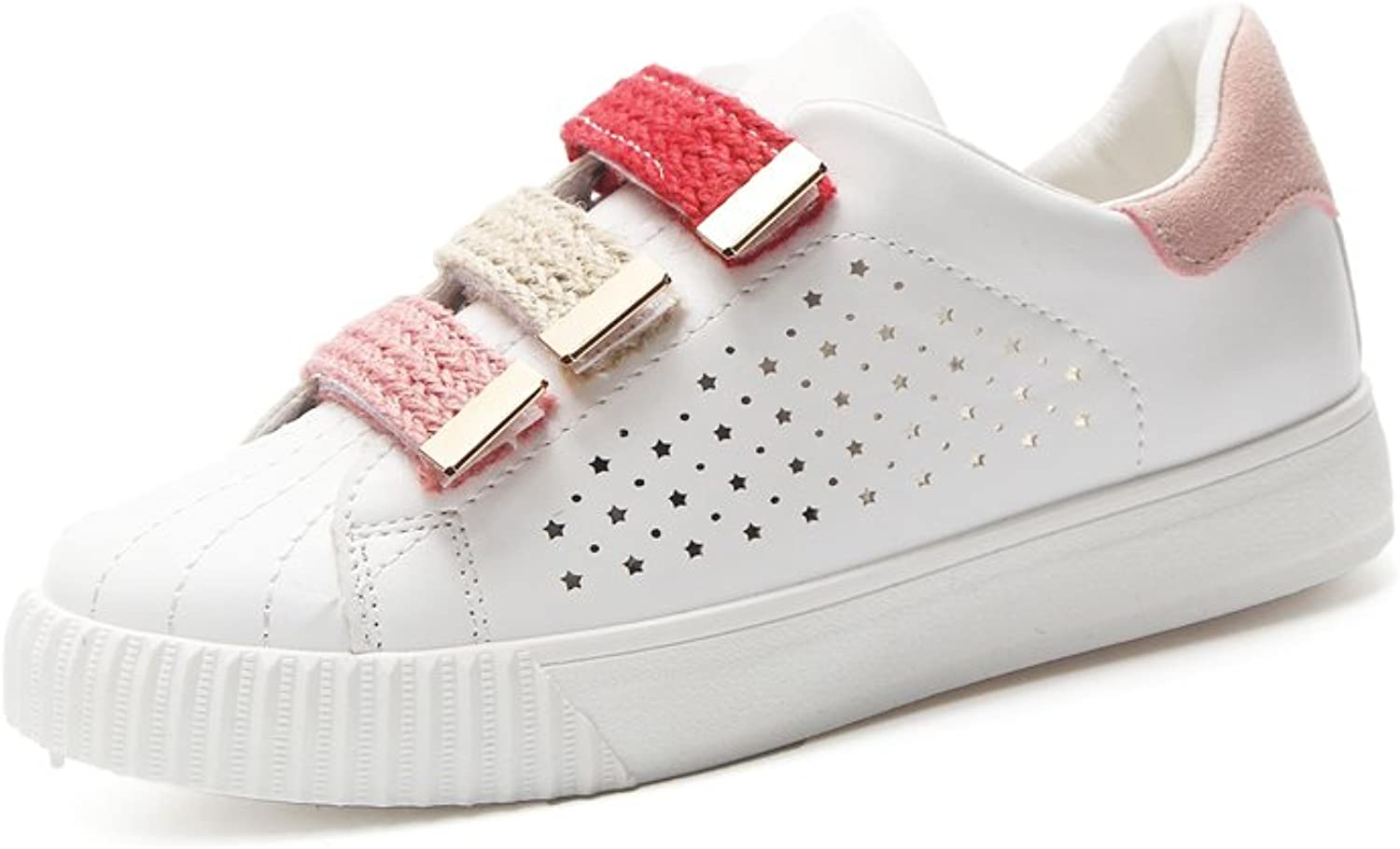 Exing Womens's shoes Velcro Small White shoes,Breathable New Academy shoes,Fashion Flat Ladies Deck shoes