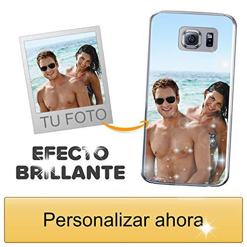 Funda móvil Personalizada con Efecto Brillante para Samsung Galaxy S6 con Tu Foto, Imagen o Frase - Funda Blanda en TPU Gel Transparente - Impresión de máxima Calidad
