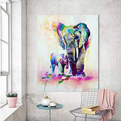 Poster Tiermalerei Leinwand Expressionismus Bunte Elefant Wandkunst Bild für Wohnzimmer Home Dekoration rahmenlose Malerei 73cmx98cm