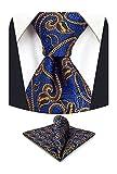 S&W SHLAX&WING Corbatas para Hombre Azul Marino Azul Oscuro Naranja Conjunto de Corbata de Paisley Conjunto de Corbata Ajustada con Pañuelo de Bolsillo