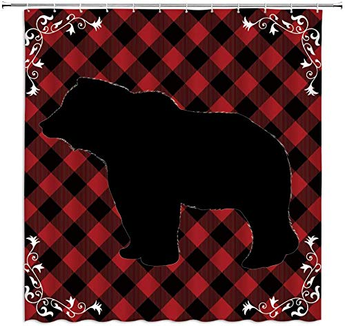 Cortinadeduchadeosoacuadros,oso,negro,rojo,búfalo,cuadros,cuadros,cabañarústica,fauna,animal,bosque,parche,granja,campo,navidad,arte,decoración,tela,cortinadebañocongancho