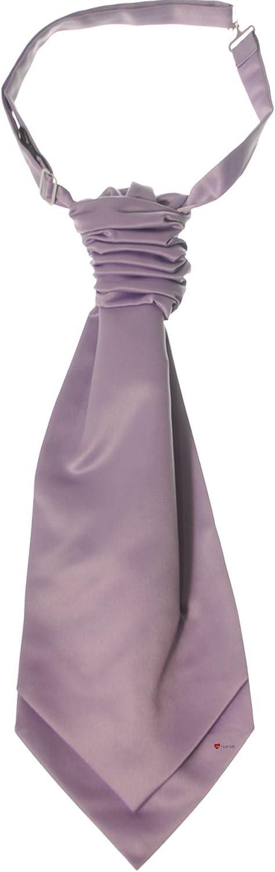 Gents Traditional Scottish Ruche Cravat Satin Tie Wedding Groom Lilac