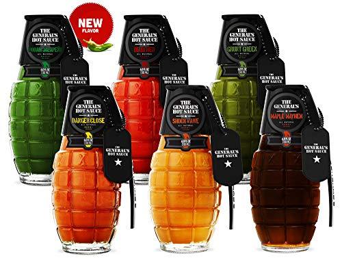 The General's Hot Sauce Super 6 - American Grown, Veteran Owned | 6 pack | 6 fl. Oz. bottles | All...