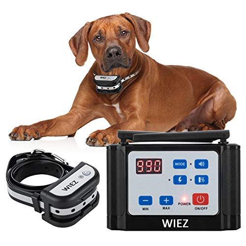 WIEZ Wireless Dog Fence Electric & Training Collar 2-in-1, Dual Antenna, Adjustable Range 100-990 ft, Adjustable Warning Strength, Rechargeable,Pet Containment System,Harmless