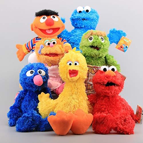 Zpong 25-35 Cm Juguetes Educativos para Niños Sesame Street 7 Piezas Muñecos De Peluche De Juguete De Marioneta De Mano Elmo Monstruo De Las Galletas Big Bird Grover Muñecos De Peluche