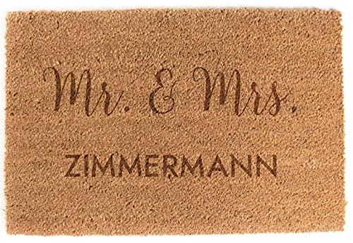 LAUBLUST Fußmatte Personalisiert - Mr. & Mrs. - ca. 60x40cm, Kokos   Geschenk zur Hochzeit   Umzugs- & Einzugsgeschenk