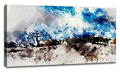 """Landscape Modern Abstract Art for Bedroom Living Room Blue Abstract Mountains Print Poster Picture Artworks for Bathroom Kitchen Wall Decor 1 Pieces Framed Ready to Hang 20"""" x 40"""" x 1 Piece"""