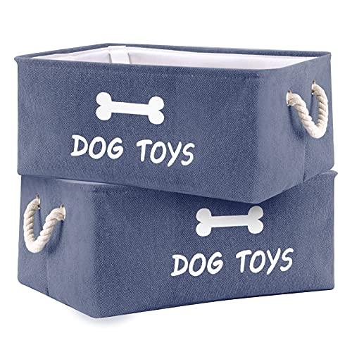Dog Toy Storage Bin Box Baskets Canvas Organizer with Weave Rope Handles Collapsible Pet Toy Boxes for Dog Toys Puppy Stuff Accessories 2 Pcs