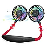 AngLink Hands Free Portable Neck Fan, Personal Rechargeable Mini USB Battery Operated Fan with 3 Speeds Air Flow, 360° Rotation, 7 Colors Wearable LED Fan for Home Office Pets Travel Indoor Outdoor