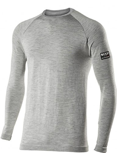 SIX2 T-Shirt ml Merinos Wool Grey-XXL/XXXL Unisex volwassenen
