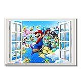 Mario Bros Tapete 3D Fenster Aufkleber Benutzerdefinierte Leinwand Wanddekor Mario Party Insel Tour Poster Super Kinder Schlafzimmer Aufkleber 60x90 cm