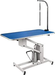 Tammible 43 Inch Hydraulic Pet Dog Grooming Table Upgraded Professional Drying Table Heavy Duty Stainless Steel Frame with Adjustable Arm and Noose 400lbs Capacity Height Range 22-39 Inch