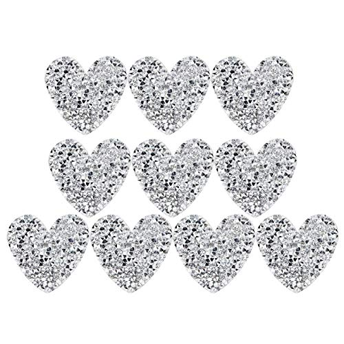 Pssopp 10 Piezas de Parches para Planchar, Aplique en Forma de corazón 4 cm Aplique de Cristal de fijación en Caliente para Camiseta Jean Bolsa de Ropa Chaqueta, Mochila y Zapato(Plata)