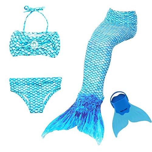 NMY Coda da Sirena per Nuotare Costumi da Bagno 4pcs con Monopinna Mermaid Insiemi del Bikini Cosplay Costume da Sirena Bambina