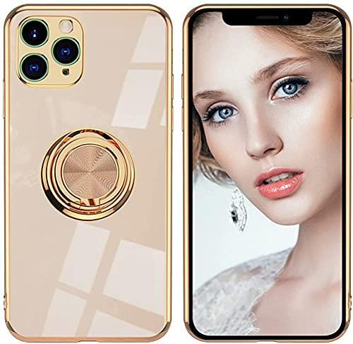 14chvily Funda de silicona para iPhone 12 Pro Max con anillo de 360 grados y soporte magnético para el coche, para iPhone 12 Pro Max