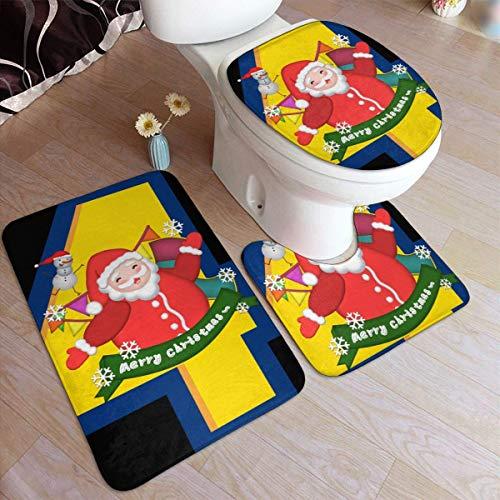 Lawenp Juego de 4 alfombras de baño de Moda de Navidad de Santa Claus Feliz Juego de 3 Almohadillas Antideslizantes Alfombrilla de baño + Contorno + Tapa de Inodoro