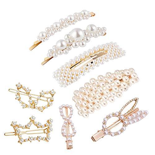 8 Pinzas Para el Cabello de Perlas,Perlas Clips de Pelo Decorativos Hechos a Mano el Cabello Horquillas Regalo de Cumpleaños la Fiesta de Bodas Accesorios para Niñas y Mujeres