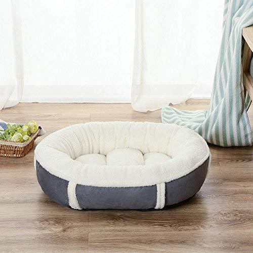 YLCJ Pluche hondenbed, Kussenslopen voor hondenbanken Ovaal hondenbed Micro nep hondenbed voor honden Deluxe Siesta bed, voor honden, Slaapbank voor huisdieren, Wit, XL