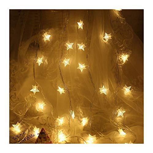 MUZIWENJU 10/20/30/40 LEDs sternförmige LED-Fee-Schnur-Licht-Batterie betrieben Feiertags-Weihnachtsfest-Hochzeit Dekoration Lichterketten (Farbe : Warm White, Größe : 6m 40leds)