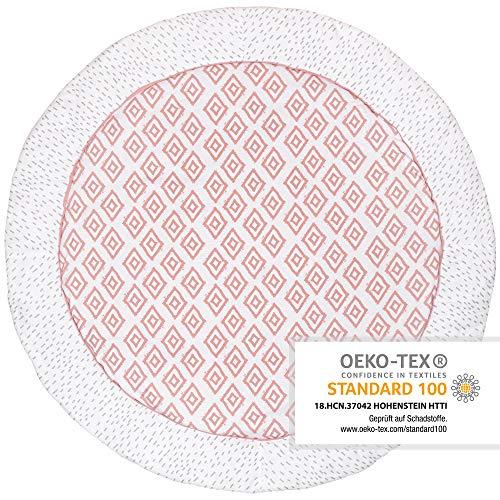 Premium Baby Krabbeldecke Rund, 100cm Durchmesser, Extra Weich Gepolstert, OEKO-TEX zertifiziert, 100{335cd9a330e69483b6a1bf19b8b19711361c4cbd045166091d9880c80804195d} natürliche Baumwolle, Hochwertige Verarbeitung, Farbe: Rauten Rosa von emma & noah