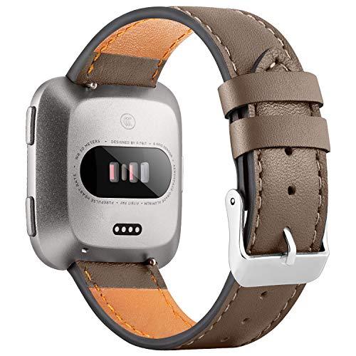 WASPO für Fitbit Versa Armband, Elegantes Echtes Lederarmband mit Schnellverschluss Pin Kompatibel mit Fitbit Versa 2/ Fitbit Versa/Fitbit Versa Lite Edition, Klein Groß Damen Herren (Hellbraun, L)