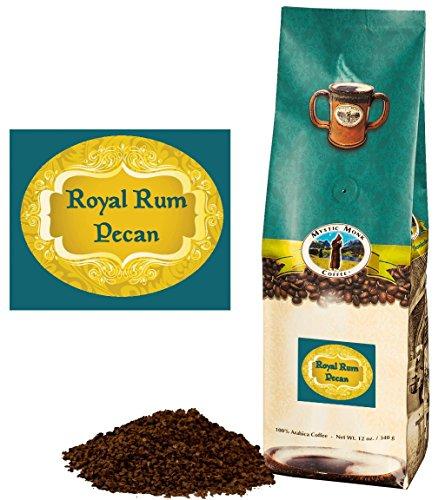 Mystic Monk Coffee: Royal Rum Pecan Flavored Ground Coffee (Flavor Roast 100% Arabica Coffee) - 12oz
