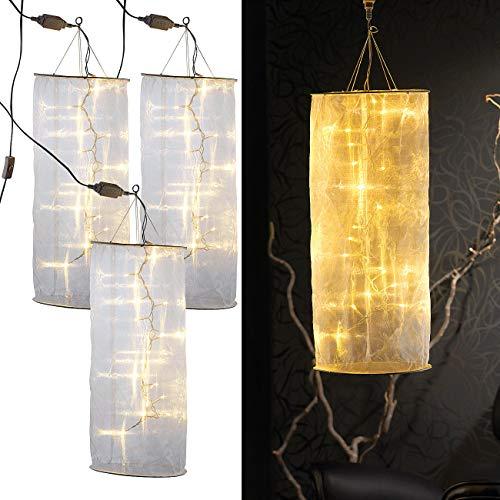 Lunartec Lampions: 3er-Set Organza-Lichterschlauch-Skulpturen mit 20 LEDs, 60 cm (Lichtschlauch für Weihnachten)