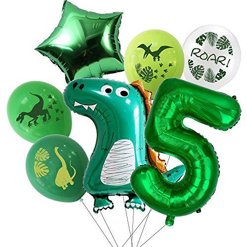 7pcs Dinosaur Balloons 5th Birthday Party Theme Decorations Include 1pcs Number 5, 1pcs Dinosaur Foil Balloon, 1pcs Green Star Balloon, 4pcs Latex (5th)
