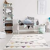 payé Teppich Kinderzimmer - Pastelfarben - Creme - 160x230 cm - Wimpel Girlande - Sterne Kurzflor Kinderteppich Spielteppich - Oeko-Tex Standard 100