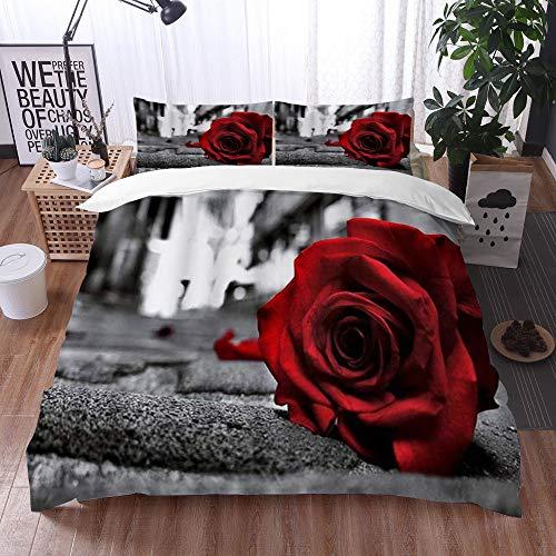 Qinniii 3 Teilig Bettgarnitur Bettwäsche,Rose verlor die Liebe Rose, die im Straßenblumen-Blumen liegt,Gemütlich 3D Mikrofaser Bettbezug Set + 2 Kissenbezug 135 x 200 cm