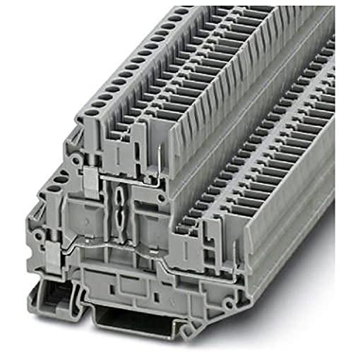 PHOENIX CONTACT UTTB 2,5/2P Zweistufiger Klemmenblock mit Schraub- / Steckverbindung, 4 Anzahl der Anschlüsse, AWG 26-12, 2.5mm² Nennquerschnitt, Grau, 50 Stück