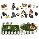 IYSHOUGONG 28 Pcs/Set Miniature Garden Ornaments Fairy Garden Animals 40 Inch Fairy Garden Fence Artificial Garden Grass Fairy Grass Lawn for Dollhouse Plants Flowerpot Outdoor Decoration