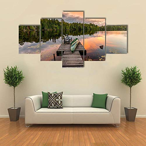 TOPRUN 5 Piezas Cuadro sobre Lienzo De Fotos Canoa Verde y sillas en el Lago Lienzo Impresión Cuadros Decoracion Salon Grandes Cuadros para Dormitorios Modernos Mural Pared Listo para Colgar