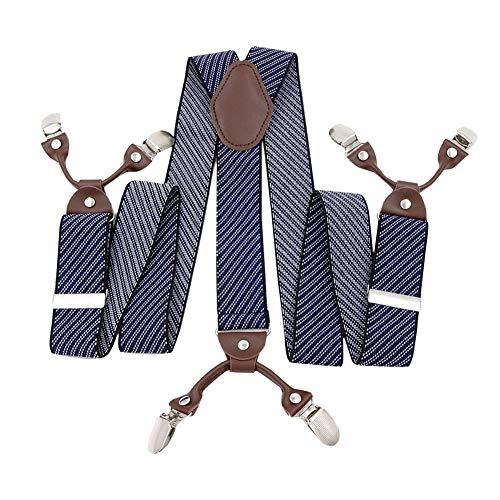 Panegy Herren Hosenträger Y-Form Stil 6 Stabile Clips 3.5cm Breite 115cm Länge Retro Knopf Gestreift Männer Hosenträger mit Leder Elastisch und Längenverstallbar - Blau