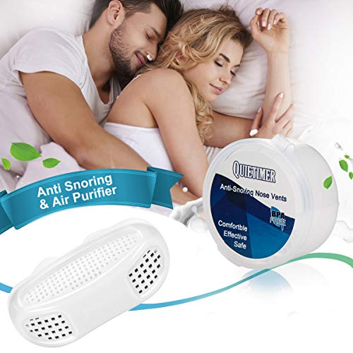 2-in-1 Anti Snoring Devices, Snoring Solution Nasal Dilator Air Purifier Filter Nose Vents Plugs Clip Stop Snoring Aids Snore Stopper Reduce Snoring Sleeping Aid Device for Ease Breathing (White)