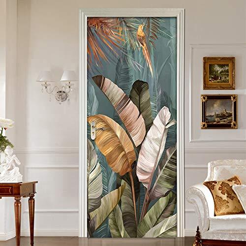 Papel pintado 3D DIY autoadhesivo para puerta de dormitorio con diseño de hojas de plátano y hojas de banano (vinilo de PVC impermeable, extraíble, tamaño de la pegatina: 95 x 215 cm)