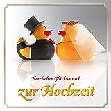 Lustige Enten-Hochzeitskarte mit Umschlag: Witzige Glückwunschkarte zur Hochzeit mit Quietsche-Enten als Brautpaar von EDITION COLIBRI...