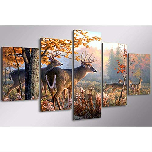 NOBRAND HD Canvas Oil Painting Home Decoration Modular Picture Frame 5 Board Animal Deer Wall Art Prints Living Room Poster 30X50 30X70 30X80Cm Sin Marco
