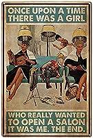 ブリキ メタル プレート サイン 2枚 ヘアサロンメタルティンサイン昔々本当に愛した女の子がいました、壁の装飾がアートワークのポスターをぶら下げレトロコーヒーベッドルームバークラブガレージバスルームの装飾プラーク12in X 8in(30cm X 20cm)
